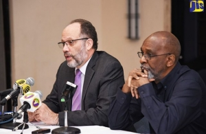 CARICOM SG, Amb. Irwin LaRocque, (left), at the press conference at the Jamaica Pegasus in New Kingston, on Monday. Also pictured is Amb. LaRocque's Adviser, Leonard Robertson