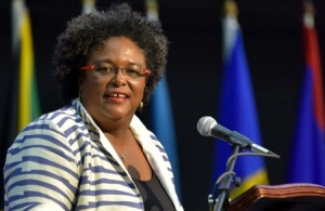 Barbados Prime Minister Mia Mottley during her address at the CARICOM Heads of Government meeting in Montego Bay, Jamaica. (GP)