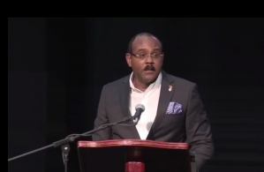 Prime Minister Gaston Browne of Antigua and Barbuda addressing the 39th Regular Meeting of the Conference of Heads of Govenment
