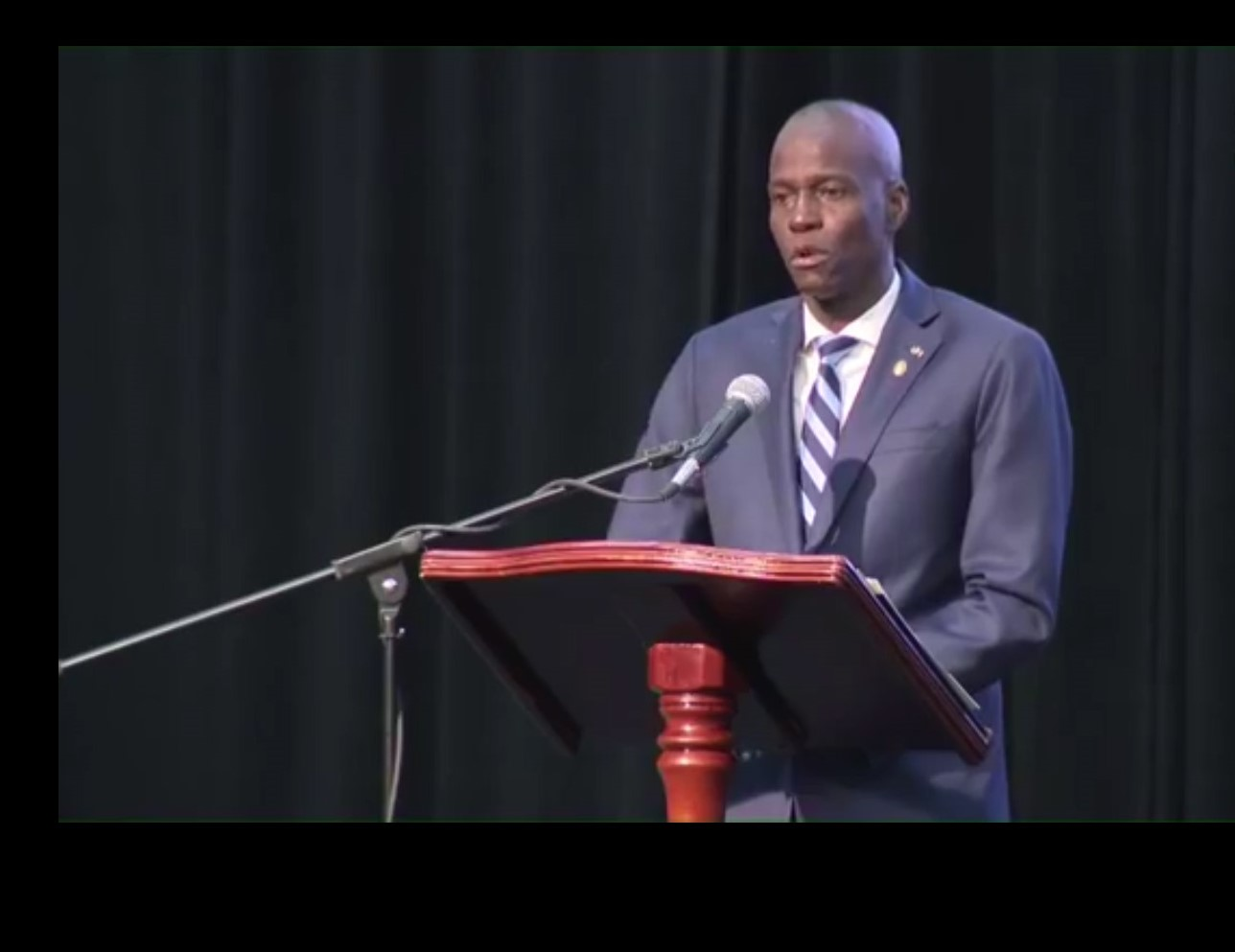 H.E. Jovenel Moise, President of Haiti and Outgoing Chair of CARICOM, addresses the opening of the 39th Regular Meeting of the Conference of Heads of Government