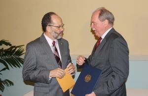 CARICOM Secretary-General (l) and Germany's Ambassador to CARICOM