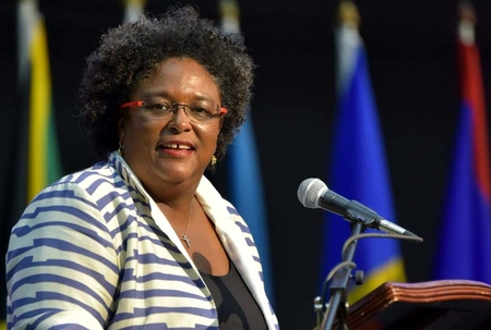 Barbados Prime Minister Mia Mottley during her address at the CARICOM Heads of Government meeting in Montego Bay, Jamaica.