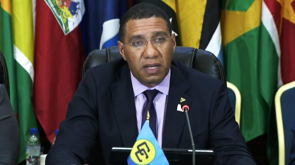 Le Président de la CARICOM, le Très Honorable Andrew Holness