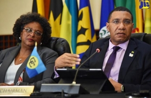 Barbados PM, the Hon. Mia Mottley, and Jamaica PM, the Most Hon. Andrew Holness, Community Chair, at the Press Conference at the end of the 39th Heads of Govt. Meeting (Photo via JIS)