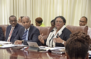 Barbados PM Mia Amor Mottley and key stakeholders at the meeting to review CSME-related decisions that were taken at the recently concluded 39th Regular Meeting in Jamaica (Photo via BGIS)