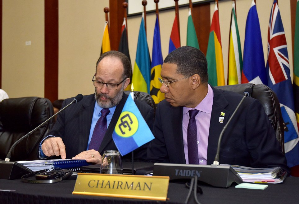 The CARICOM Chairman and Secretary-General at the recent Heads of Government Meeting in Jamaica