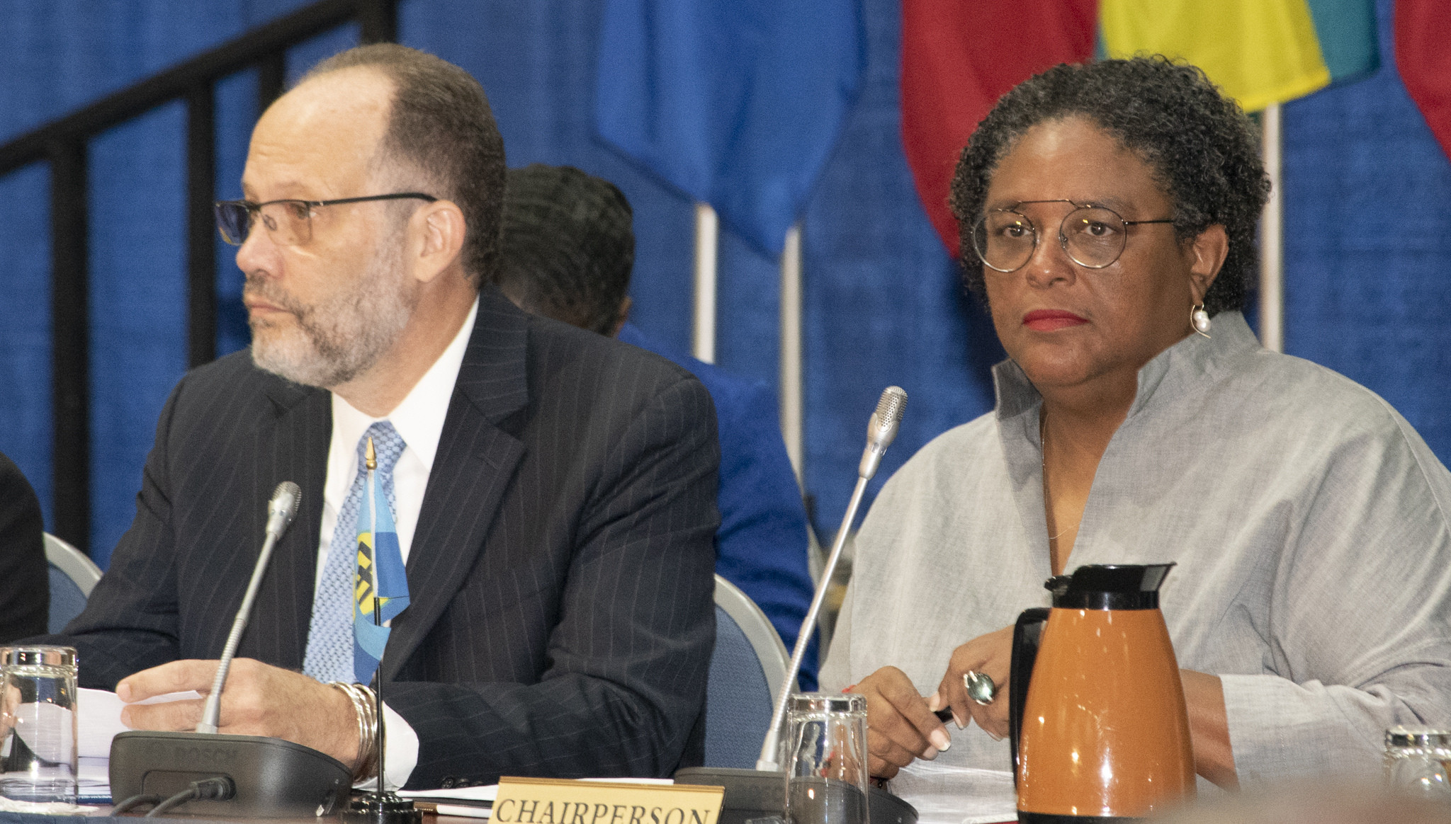 Chair of the Prime Ministerial Sub-Committee on CSME, Prime Minister Mia Mottley of Barbados and CARICOM Secretary-General Ambassador Irwin LaRocque