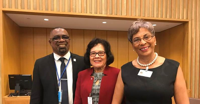 (L-R) PANCAP Director, Mr. Dereck Springer, First Lady of Guyana H.E. Sandra Granger and Speaker of the Belize House of Representatives, Ms. Laura Tucker-Longsworth, OBE,