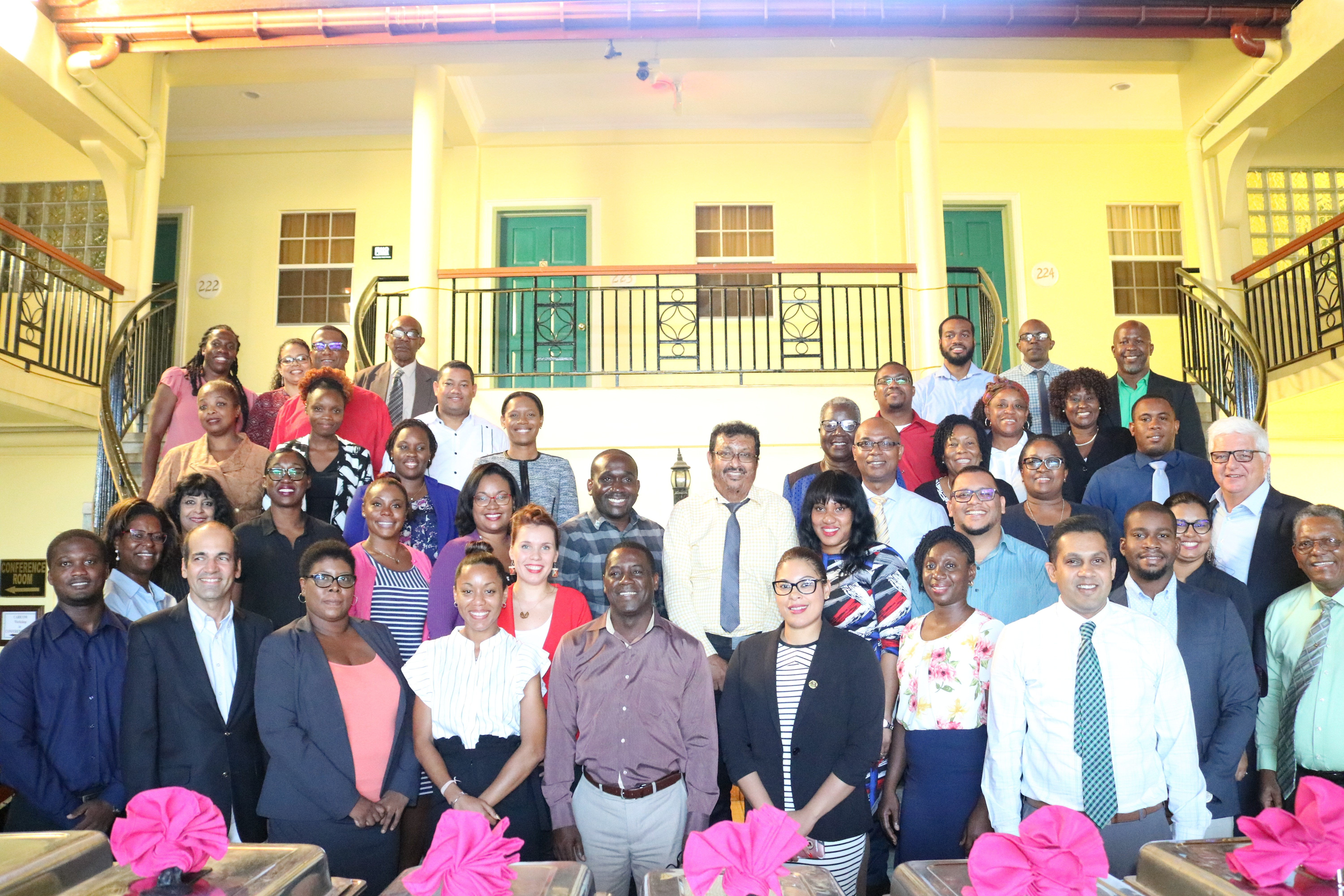 photo of participants of a 10-day training programme for implementers of projects funded by the European Development Fund at the Grand Coastal Hotel in Georgetown Guyana.