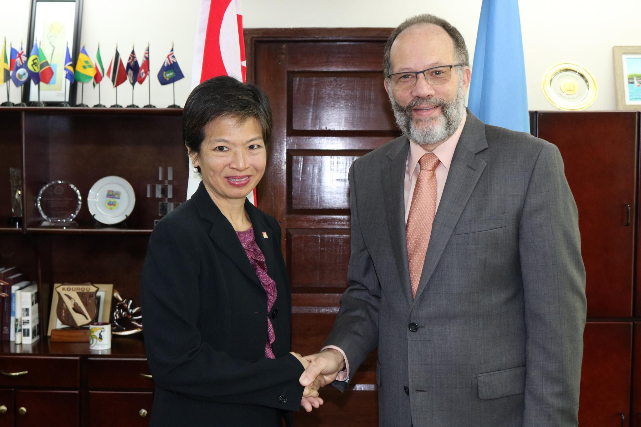 CARICOM Secretary-General Ambassador Irwin LaRocque welcomes Singapore's new Ambassador to CARICOM H.E. Karen Anne Tan Ping Ming