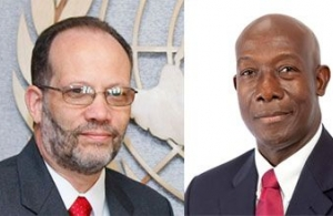 Secretary-General LaRocque and Prime Minister Rowley