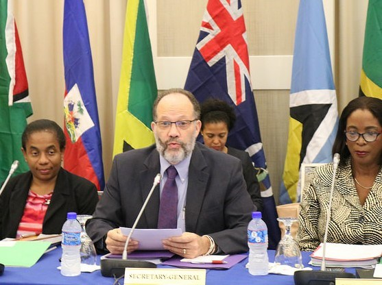 CARICOM SG. Amb. Irwin LaRocque (c) speaks at COTED, Flanking him are Chair of COTED< the Hon Sandra Husbands (r) and CARICOM General Counsel, Ms. Corlita Babb-Schaefer