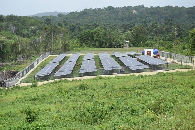 The solar farm located at Khan's Hill, Mabaruma, Region One (Photo via DPI) 0 160