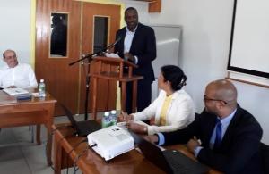 Montserrat's Premier Mr Donaldson Romeo presenting remarks