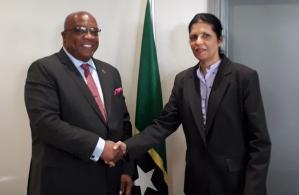 Prime Minister Dr Timothy Harris greets CARICOM Deputy Secretary-General Ambassador Manorma Soeknandan