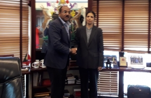 Antigua and Barbuda's Prime Minister Mr Gaston Browne and CARICOM Deputy Secretary-General Ambassador Manorma Soeknandan