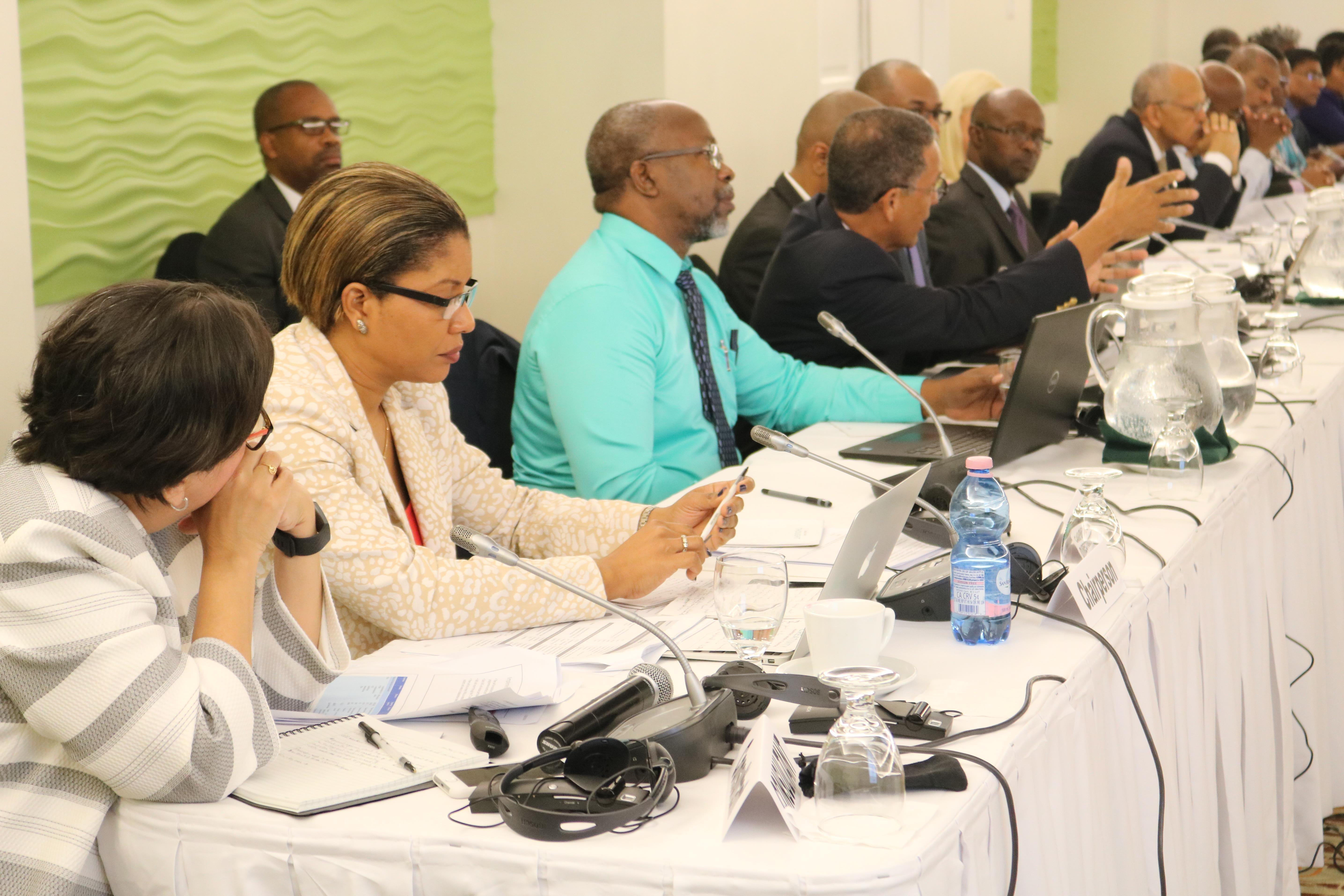 Chairman of the Meeting and EPA Coordinator, Government of Saint Lucia (2nd left) Ms. Lisa Louis Philip, and other participants on the second day of the consultation