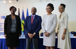 Remarks were delivered by: 1.	L-r Ms. Monica Paul-Mclean (Delegation of the European Union); Dr. Douglas Slater, CARICOM Secretariat Assistant Secretary General, Hon. Glenda Jennings Smith, Parliamentary Secretary, Ministry of Nation Security and Ms.