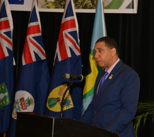 Prime Minister of Jamaica, Hon. Andrew Holness delivers his address as outgoing Chairman of the CARICOM Conference of Heads of Government at the 30th Intersessional Meeting of the CARICOM Conference.