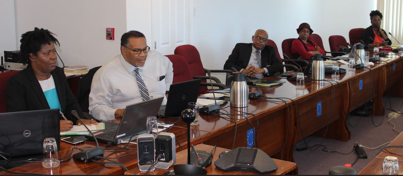 The Meeting underway on Friday. Third from right is CARICOM Assistant Secretary-General Trade and Economic Integration, Mr. Joseph Cox