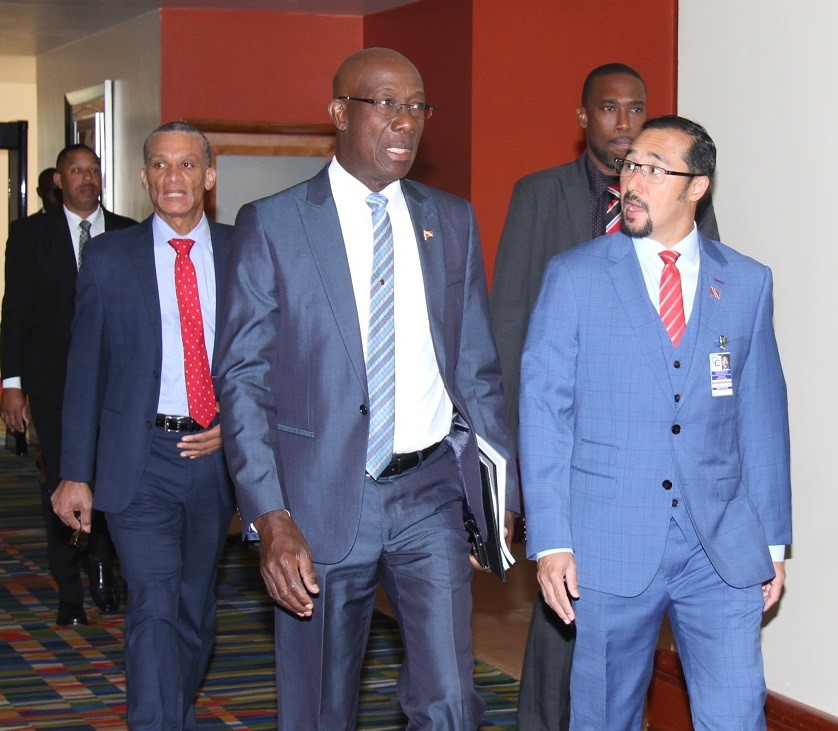 Dr. the Hon. Keith Rowley  Prime Minister of Trinidad and Tobago ( front,l), arrives for the Nineteenth Special Meeting of the Conference of Heads of Government, 3 May 2019, Trinidad and Tobago