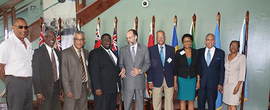 Secretary-General of the Caribbean Community (CARICOM), Ambassador Irwin LaRocque, with representatives of Regional air carriers the CARICOM Secretariat on Thursday. From left are, Caribbean Airlines (CAL) Consultant, Mr. Ian Bertrand, Advisor to the