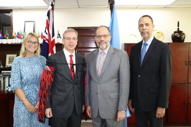 (L-R) Deputy High Commissioner, New Zealand High Commission, Barbados, Ms. Ruth Delany;  New Zealand's Ambassador to the Caribbean Community (CARICOM), His Excellency Anton Ojala; CARICOM Secretary-General Ambassador Irwin LaRocque;  and Assistant Secretary-General, Foreign and Community Relations, Ambassador Colin Granderson.