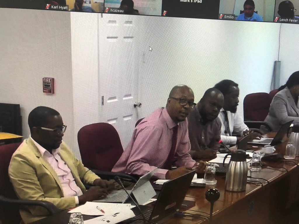 From left, CARICOM FAO Programme Liaison, Mr Sandiford Edwards, CARICOM Deputy Programme Manager, Agriculture, Dr. Richard Blair, CARICOM Programme Manager, Agriculture, Mr. Shaun Baugh and CARICOM Agricultural Trade Specialist Mr Nigel Durrant at the meeting (Photo via Fransen Jean)