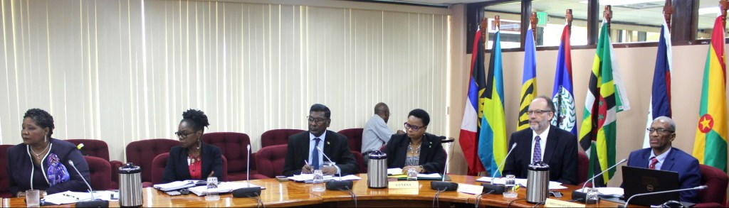 Secretary General of the Caribbean Community, Ambassador Irwin LaRocque and other officials join the meeting from the CARICOM Headquarters in Guyana