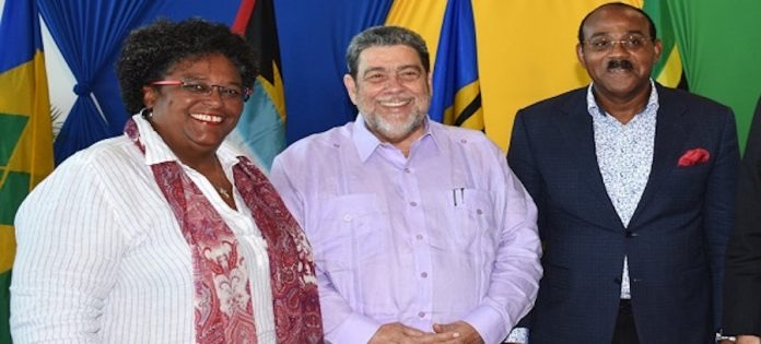 Prime Ministers Mia Mottley, Ralph Gonsalves and Gaston Browne (Photo via Barbados Today)