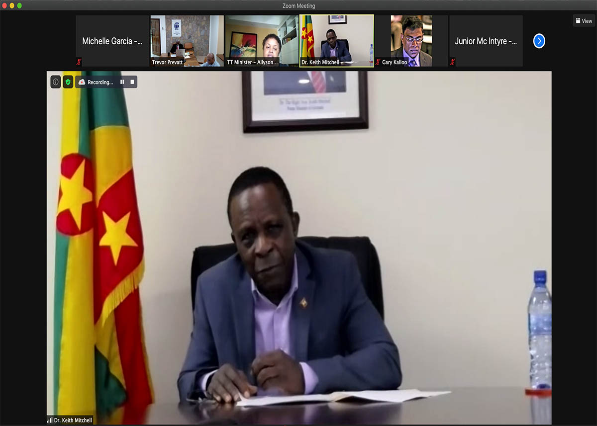 Prime Minister Keith Mitchell addresses the virtual audience at the General Conference of Ministers of the Caribbean Telecommunications Union (Photo via CTU)