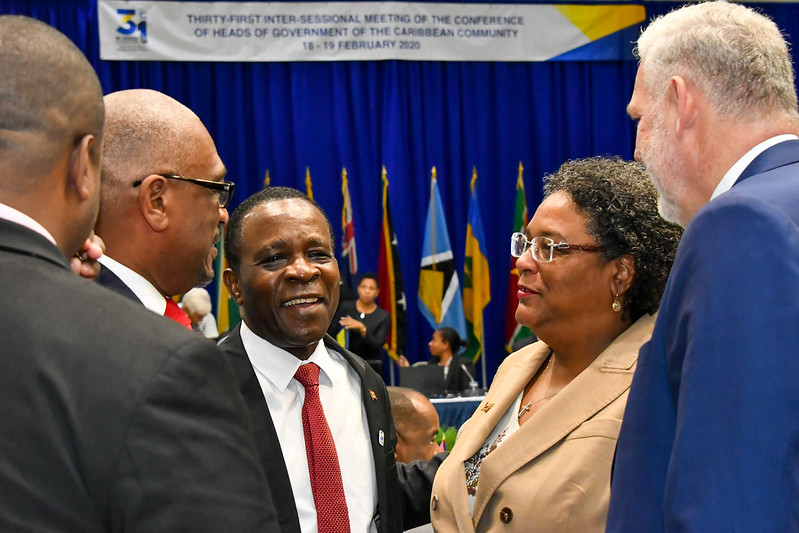 l-r) Prime Ministers Dr. Hubert Minnis of The Bahamas, Dr. Keith Mitchell of Grenada, Mia Mottley of Barbados and Allen Chastanet of Saint Lucia at the opening