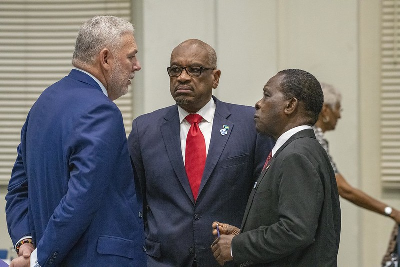 Prime Ministers Allen Chastanet of Saint Lucia, Dr. Hubert Minnis of The Bahamas and Dr. Keith Mitchell of Grenada in discussion at the Meeting
