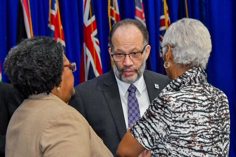 CARICOM SG, Amb. Irwin LaRocque in discussion with Chair of CARICOM, PM Mia Mottley of Barbados (l) and Director-General, CARICOM Office of Trade Negotiations, Amb. Gail Mathurin