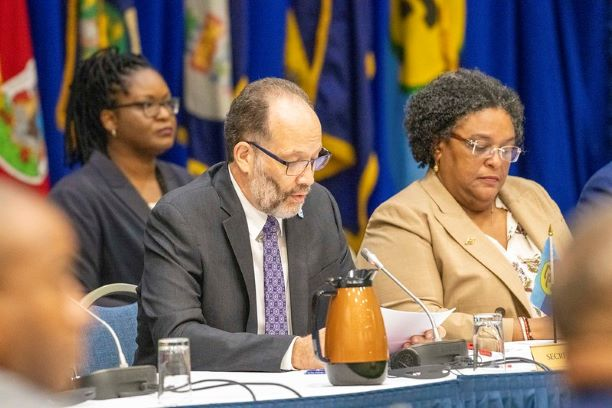 CAICOM Secretary General, Amb Irwin LaRocque delivers remarks at the 31st Intersessional Meeting of Conference of Heads of Government of the Caribbean Community