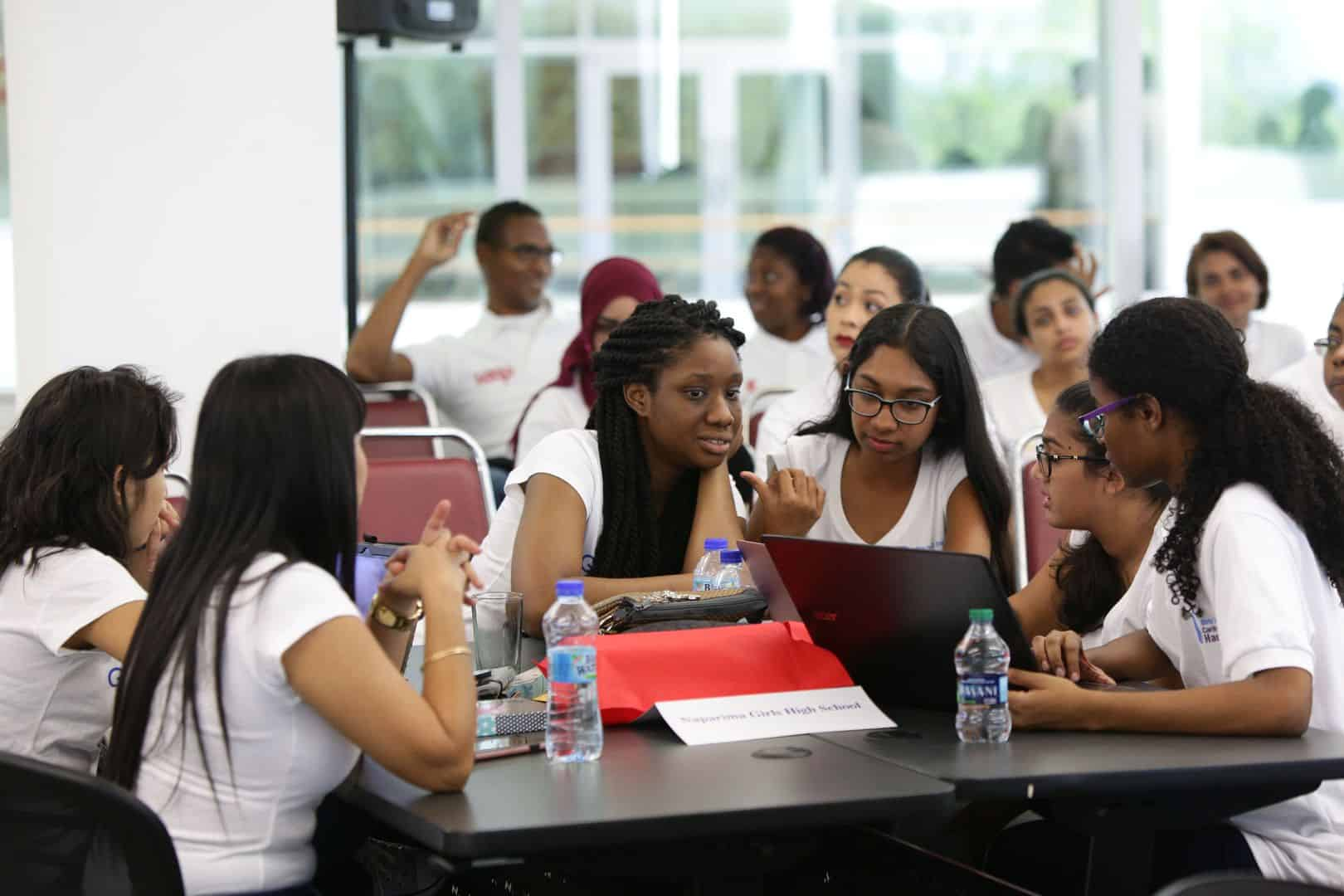 FLASHBACK: Girls from Trinidad and Tobago problem-solve during a tech event (Photo via ITU)