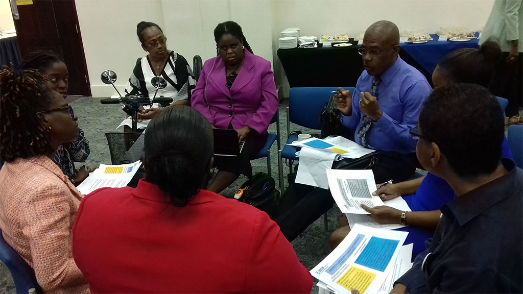 Representatives of government, private and third sectors in Barbados in a focus group discussions to inform development of the Community Strategic Plan 2020