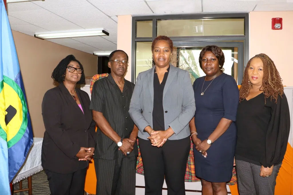 The Independent High-Level Mission (from left): Ms Angela Taylor, Chief Electoral Officer, Barbados; Mr Anthony Boatswain, former Finance Minister, Grenada; Ms Francine Baron, Chair of the Team and former Attorney General and Foreign Minister, Dominica; Ms Fern Nacis-Scope, Chief Elections Officer, Trinidad and Tobago; Ms Cynthia Barrow-Giles, Senior Lecturer, Department of Government, UWI.