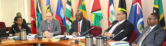 Photo of Address by Hon Chet Greene to the 46th COTED Meeting in Guyana
