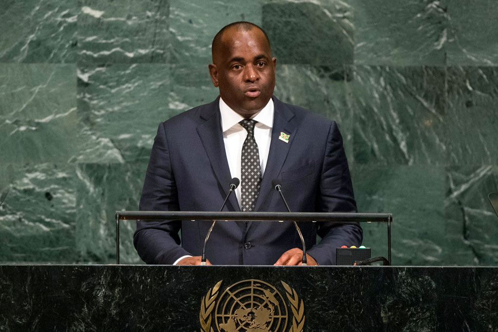 Photo of Dominica Prime Minister Roosevelt Skerrit addresses the UN General Assembly