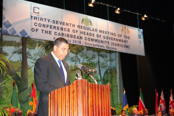 Photo of Remarks by The Most Honourable Andrew Holness, O.N., M.P., Prime Minister of Jamaica  To the Opening Ceremony of the Thirty-Seventh Regular Meeting of the Conference of Heads of Government of the Caribbean Community (CARICOM) Georgetown, Guyana, 4– 6 July 2016
