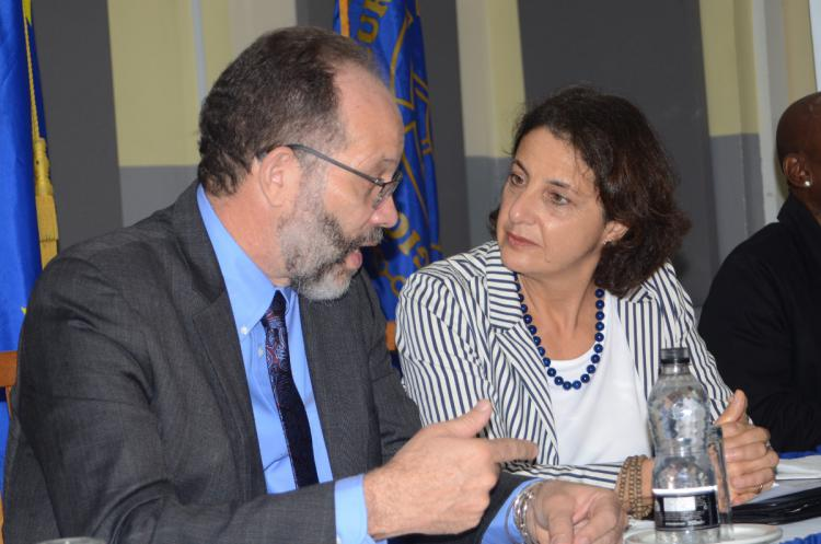 H.E. Irwin LaRocque CARICOM and CARIFORUM Secretary-General and H.E.  Amb. Daniela Tramacere, Head of the EU Delegation to Barbados, Eastern  Caribbean States, the OECS, and CARICOM/CARIFORUM at the launch of the  Tenth EDF CARIFORUM Crime and Security Cooperation Programme