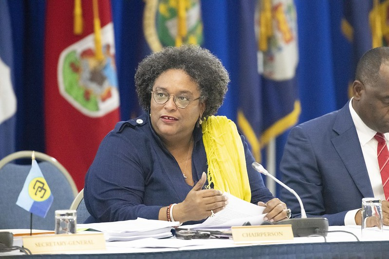 Chair of CARICOM, the Hon. Mia Mottley, Prime Minister of Barbados, and Prime Minister of Dominica, the Hon. Roosevelt Skerrit at the press conference