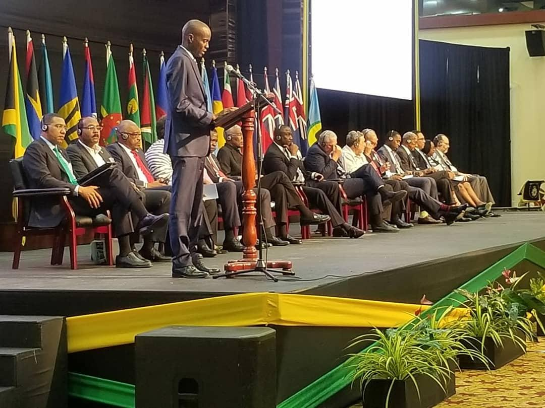 Photo of Address, Pres. of Haiti. H.E. Jovenel Moise, 39th Meeting, Conf. of Heads of Govt. of CARICOM, Montego Bay, 4 July, 2018