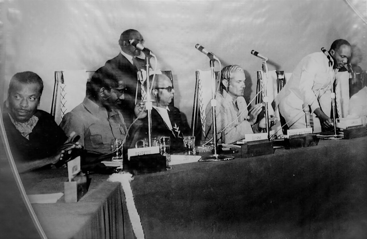 FOUNDING Fathers signing the Treaty of Chaguaramas in 1973. From left, PM Errol Barrow, PM Forbes Burnham, PM Eric Williams and PM Michael Manley