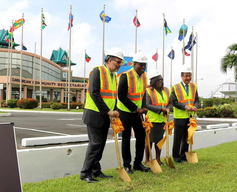 Turning the sod (from left) Secretary-General Ambassador Irwin LaRocque; Minister of Public Infrastructure, Guyana, Hon David Patterson; Minister of Foreign Affairs, Guyana, Dr. Hon. Karen Cummings; Japan's Ambassador to CARICOM and Guyana H.E. Mr. Tatsuo HIRAYAMA